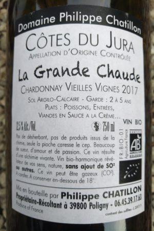 Chardonnay Vieilles Vignes 2017 La Grande Chaude, Domaine Chatillon naturedevin.com