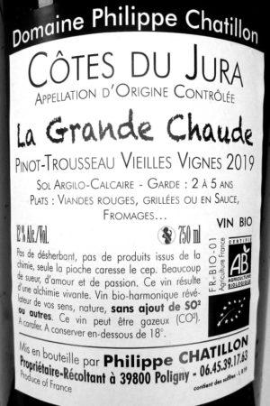 Pinot-Trousseau Vieilles Vignes 2019 La Grande Chaude, Domaine Chatillon naturedevin.com